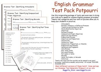 English Grammar Potpourri Test Pack
