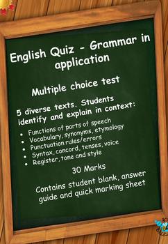 English Grammar Quiz - Language in context