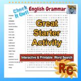 English Grammar Grade 5-10 Word Search
