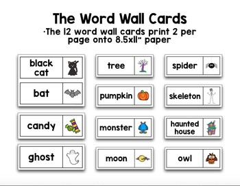 English Halloween Vocabulary Games and Word Wall