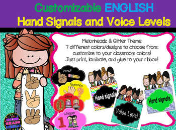 English Hand Signals & Voice Level (7 colors: Melonheadz &