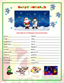 English Holiday Season/Christmas Worksheet