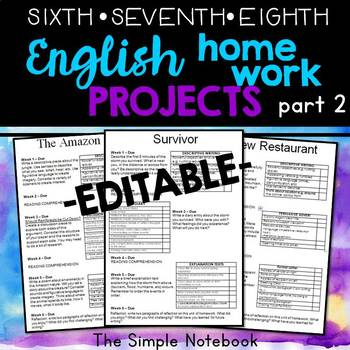 English Homework PROJECTS (part 2)