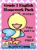 Grade 1 English Homework Pack Week 1