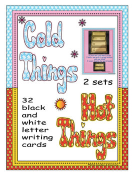 English Hot Cold Vocabulary Tracing Cards Black and White