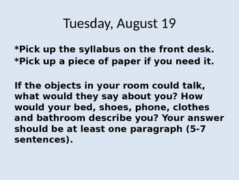 English I Bellwork and Journals