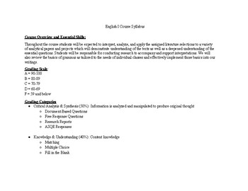English I Course Syllabus- Thematic
