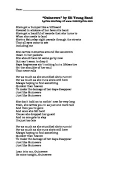 English I & II STAAR EOC Short Answer Practice w/ Song Lyrics