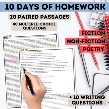 English I & II STAAR Paired Texts Worksheets with Writing Component