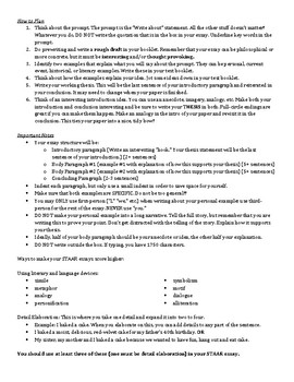 English I STAAR EOC Test Taking and Essay Writing Tips