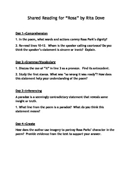 English I Shared Reading Guided Lessons