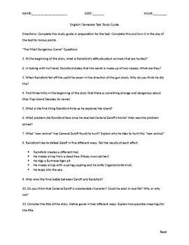 English I Study Guide for Short Story Unit