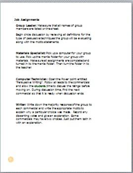 English I and II Persuasive Writing Cooperative Learning Project (TE)