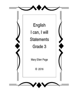 English I like, I Can, I Will, etc. Statements