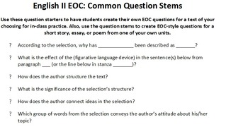 English II EOC: Common Question Stems