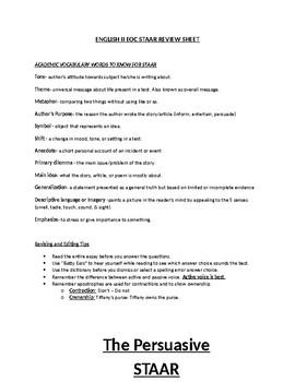 English II EOC STAAR Review Sheet