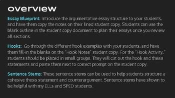 English II - Argumentative Essay Structure Resource Bundle