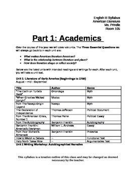 English III (American Literature) Syllabus with Classroom Rules and Policies