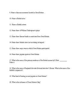 English IV / British Literature Ice-Breaker