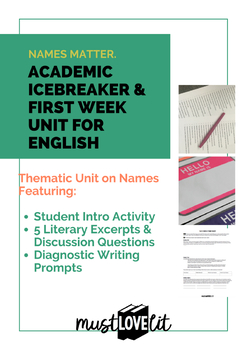 English Icebreaker First Day Name Unit Introduction Activity