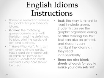 English Idioms- Acitivities, Lesson Ideas, and More!