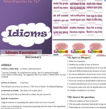 English Idioms: Definitions, Examples from Literature, Activities, Games
