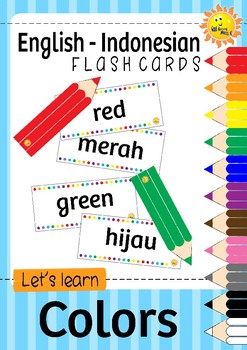 ENGLISH - INDONESIAN Color Pencils Flash Cards