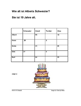 German Info Gap Game on Age: Numbers with Family and Possessives (Nummer)