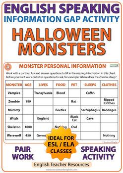 English Information Gap Activity - Halloween Monsters