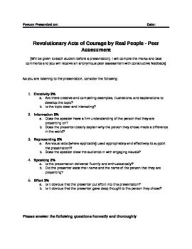English Inquiry Project/Biographical Profile (Heros)- Revolution by Real People