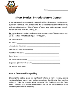 English: Introduction to Genre and Storytelling