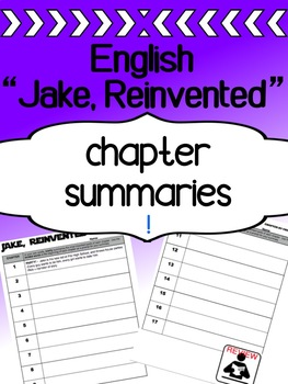 English - Jake, Reinvented - Chapter summaries