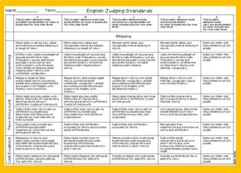 English Judging Standards Year 1