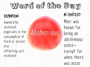 English Language Arts 7-12 Word of the Day Posters