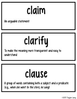 English Language Arts Academic Vocabulary Cards - 127 ELA Terms!