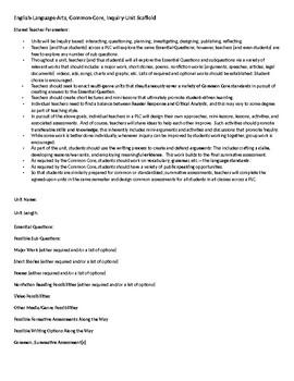 English-Language-Arts, Common-Core, Inquiry-Unit PLC Planning Scaffold