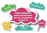 English Language Arts Common Core Speech Bubble Posters for Grades 9-10