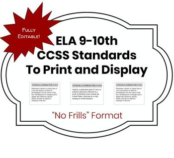 CCSS ELA 9-10 Standards to Print-and-Display!