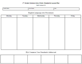 Template - Common Core State Standards Lesson Plan for English Language Arts