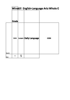 English Language Arts Curriculum mapping template for kind