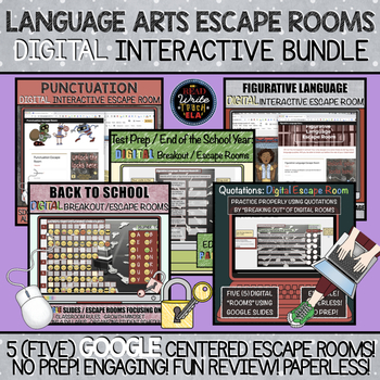 English Language Arts Escape Rooms: DIGITAL Interactive Bundle