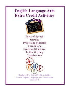 English Language Arts Extra Credit Activities and Worksheets