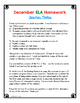 English Language Arts Homework - December