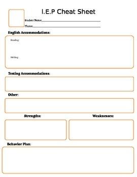 English/ Language Arts IEP or 504 cheat sheet