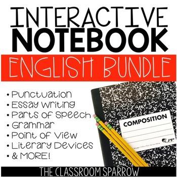 ELA Interactive Notebook Activities BUNDLE (essay, grammar, punctuation, etc.)