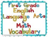 English Language Arts & Math Common Core Vocabulary ~ First Grade