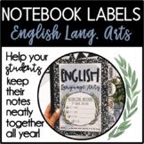 English Language Arts Notebook Labels