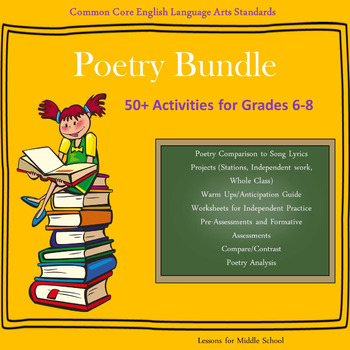 English Language Arts - POETRY BUNDLE - 50+ Activities for Grades 6-8