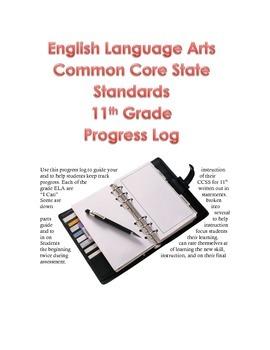 English Language Arts Progress Log 11th Grade Common Core