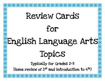 English Language Arts Review Cards